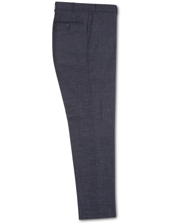 DARK PURPLE TEXTURED WOOL-SILK-LINEN DRESS PANTS