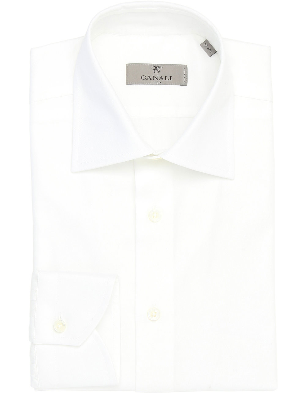 WHITE COTTON TWILL BUTTON-UP DRESS SHIRT