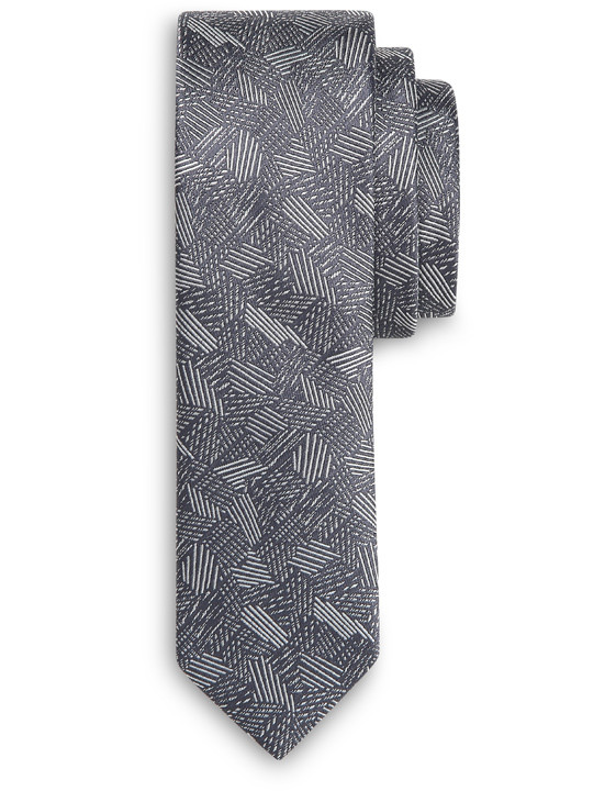 GRAY SILK TIE WITH ART DECO MOTIF