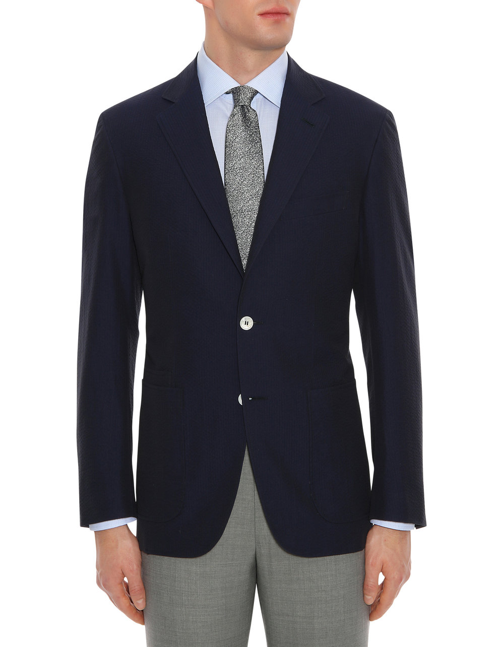 Look 3: Navy Seersucker Blazer -