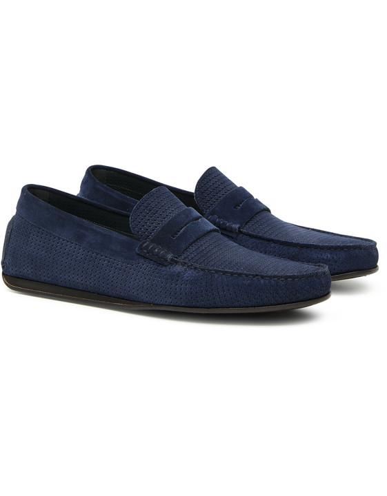 MIDNIGHT BLUE TEXTURED SUEDE LEATHER PENNY DRIVING LOAFER
