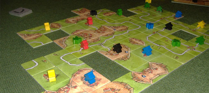 The tile-laying game Carcassonne in action
