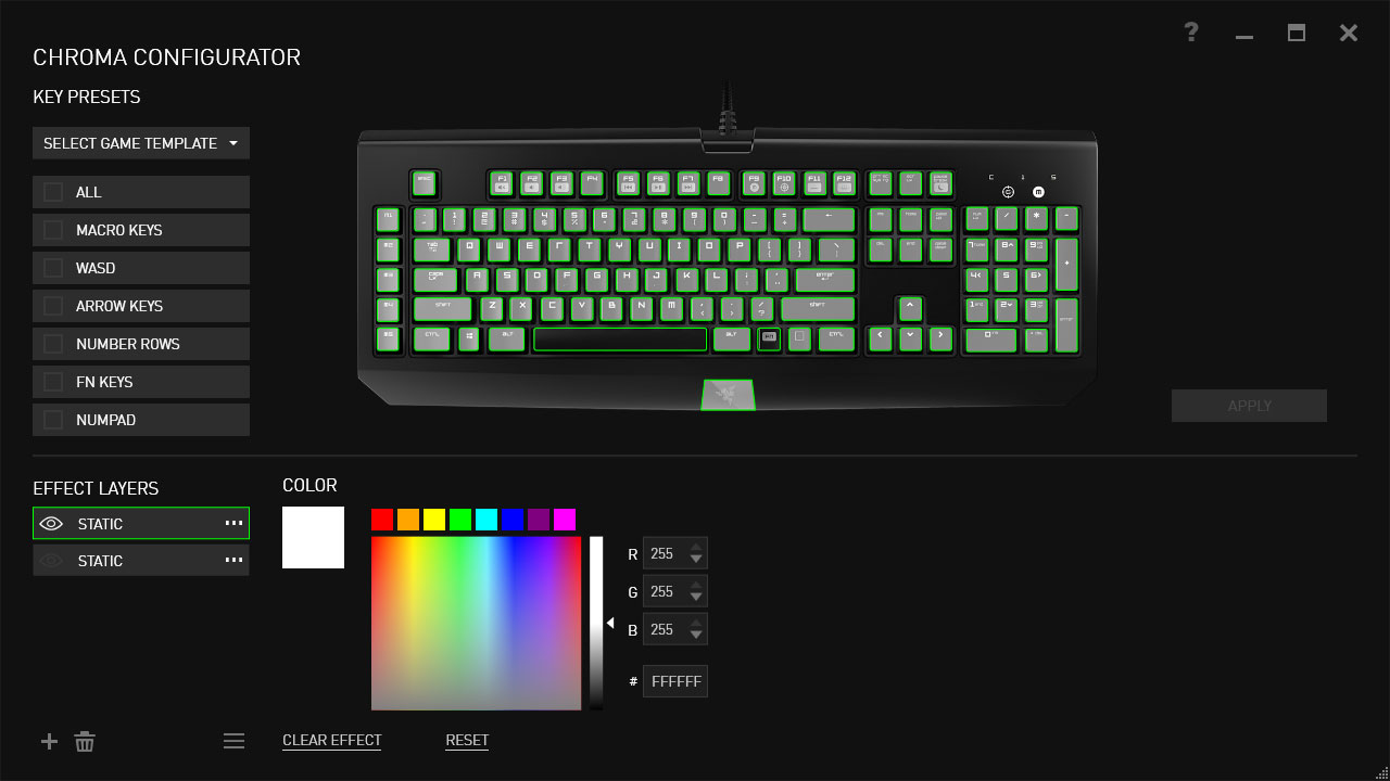 Customizing key colors with Razer Synapse.