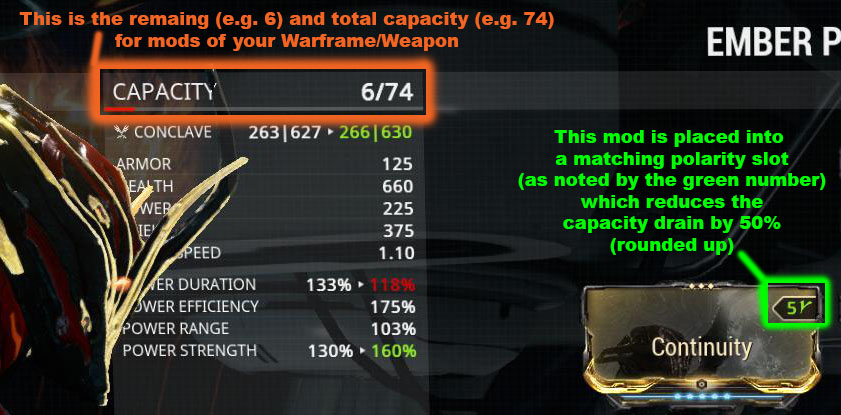 Capacity is the single most important feature of an item that will determine how many and how powerful of a mod you can plug into your Warframe or equipment. More is always better. Potato it for the first time to notice instant improvement to its capacity!