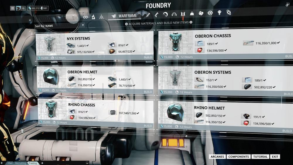 Since I have all 3 parts (Chassis, Helmet and Systems) of the Oberon Warframe, I can being constructing them.