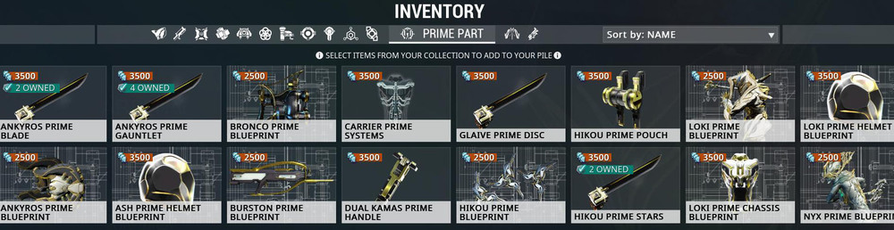 A little look at my inventory of some Prime Parts. Currently, Prime Parts (with some non-Prime exceptions) of gear can be traded between players. You'll have to source non-Prime equipment on your own solo or with a group.