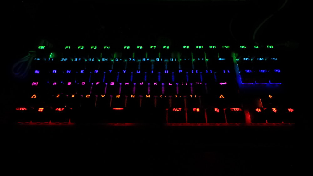 I do not play games in the dark, but I have to admit the backlighting is spiffy-looking