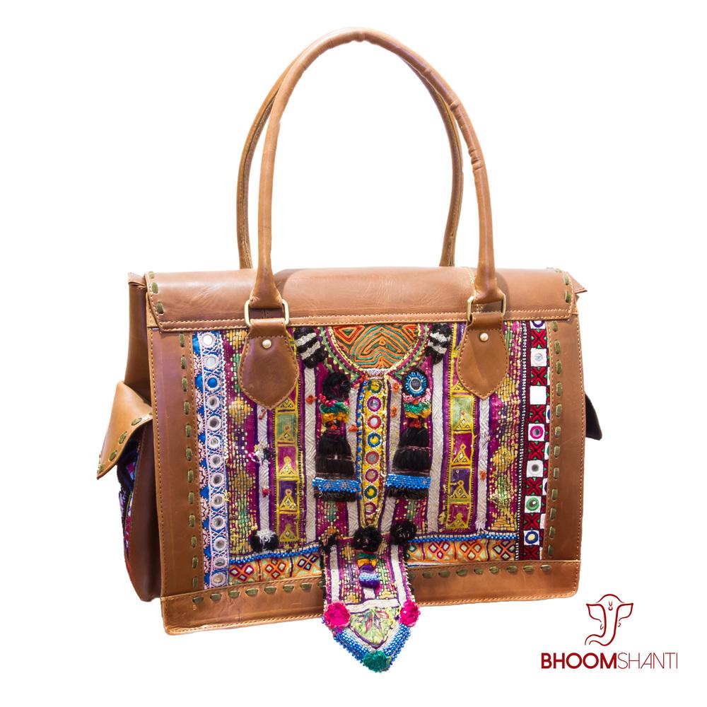 c0c8a836be Brown Leather Weekender Banjara Bag — Bhoom Shanti