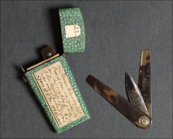 Lancet and case, the property of Thomas Dimsdale (1712–1800), said to have been used to inoculate Empress Catherine of Russia in 1768 Courtesy of the Hunterian Museum at the The Royal College of Surgeons