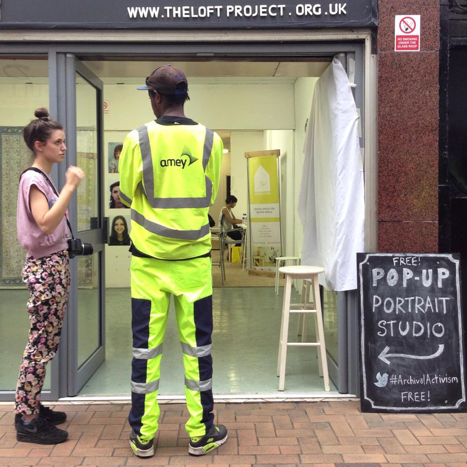 Pop Up Portrait Studio  was the most popular intervention of  The Loft's  six month residency; engaging with hundreds of passers by and inviting them inside to be photographed.