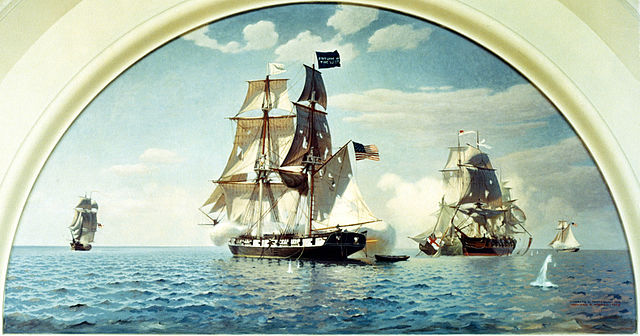 "Battle of Lake Erie, 10 September 1813 Mural begun by Charles Robert Patterson and completed in 1959 by Howard B. French. It depicts the U.S. Brig Niagara, flagship of Master Commandant Oliver Hazard Perry, raking the British warships Queen Charlotte and Detroit, which are afoul of each other after colliding. Niagara flies Perry's ""Don't Give Up the Ship"" battle flag at her mainmast peak. This mural, presented to the U.S. Naval Academy by Admiral and Mrs. Thomas C. Hart, is on display in the Academy's Memorial Hall."