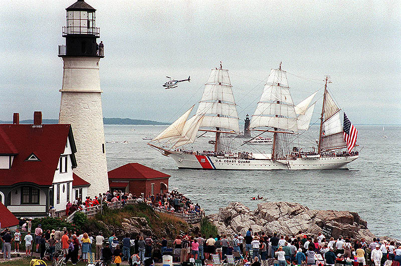 The USCGC Eagle at Portland Headlight. Photo by David MacDonald, Friday, July 28, 2000. © Portland Press Herald