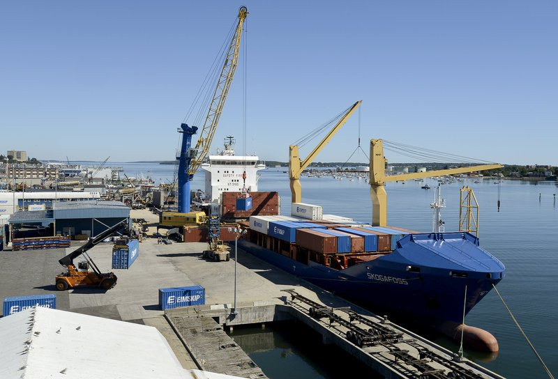 An Eimskip ship is loaded with containers. Photo by Portland Press Herald Staff Photographer John Patriquin
