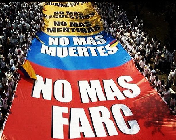 People of Cali, Colombia, protesting against the Farc. Photo credit: bbc.co.uk