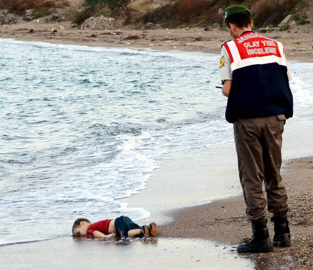 A Syrian child washed up on a beach.