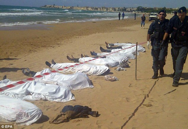 Dead bodies in Lampedusa, Italy.