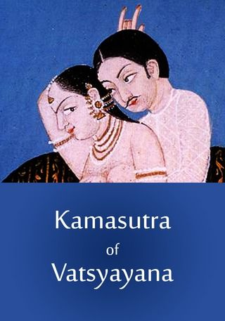 Cover art for Vatsyayan's Kamasutra, an Indian book depicting sexual intercourse.