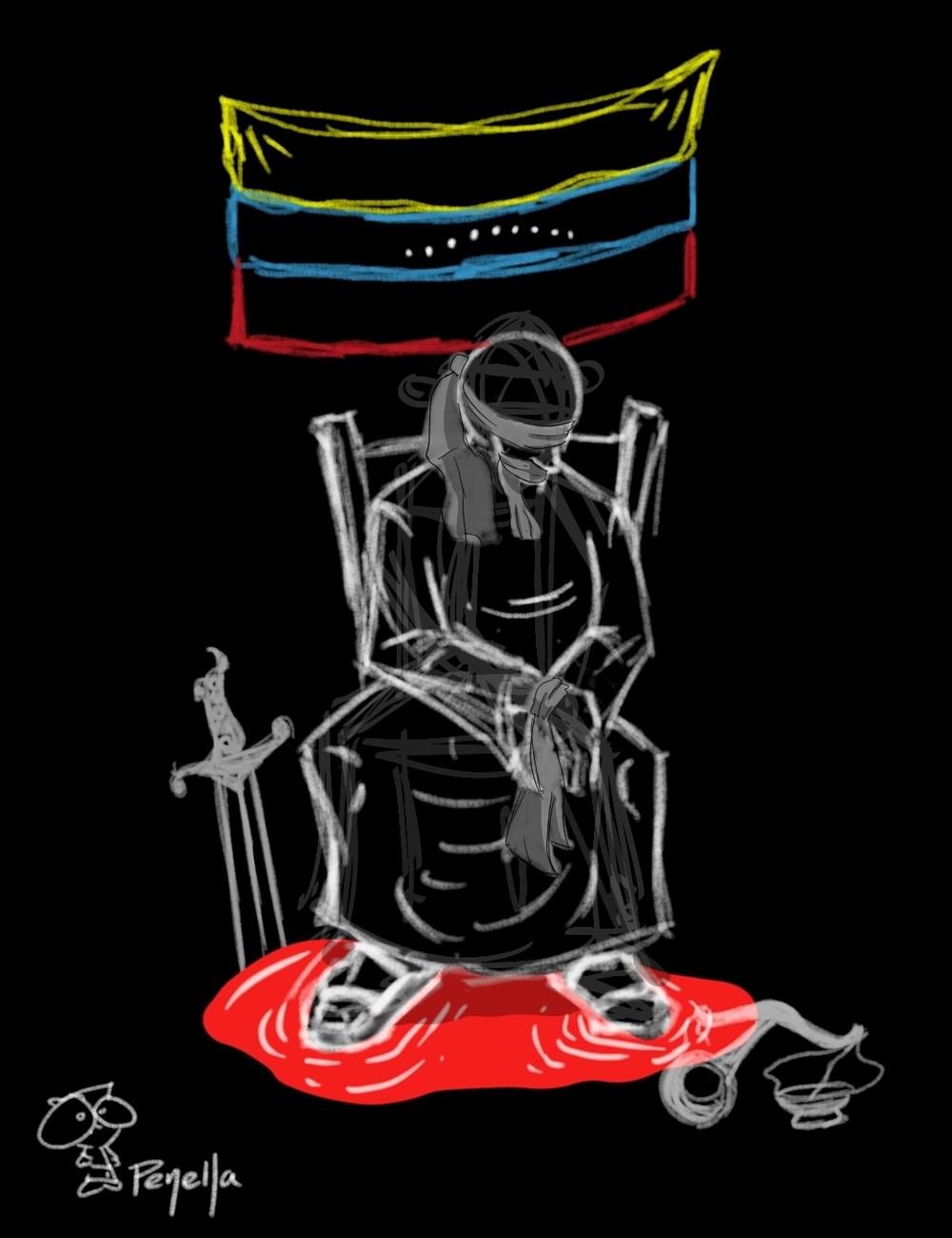"""Justice in Venezuela"" by Jesus Penella (IG:@penellacomics)"