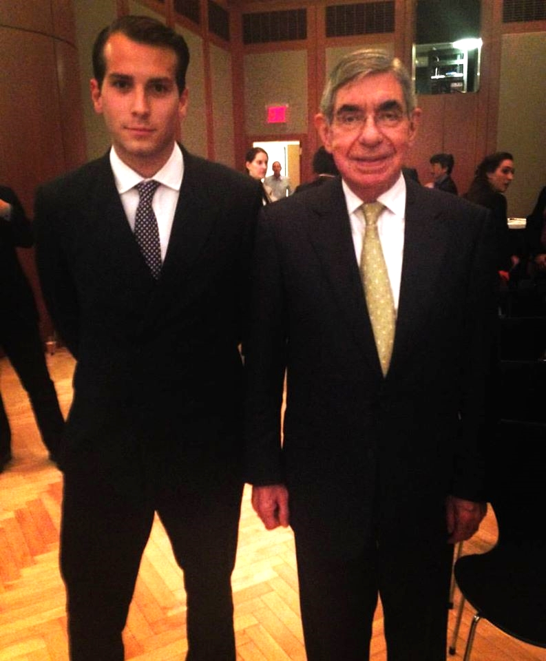 ALFREDO MALARET, PHOTOGRAPHED WITH THE NOBEL PEACE LAUREATE AND FORMER PRESIDENT OF COSTA RICA, ÓSCAR ARIAS SÁNCHEZ, AT THE GERMAN MISSION TO THE UNITED NATIONS.