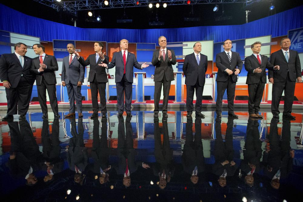 GOP presidential candidates during their first debate on Aug. 6 in Cleveland.From left, Chris Christie, Marco Rubio, Ben Carson, Scott Walker, Donald Trump, Jeb Bush, Mike Huckabee, Ted Cruz, Rand Paul, and John Kasich. (AP/Andrew Harnik)