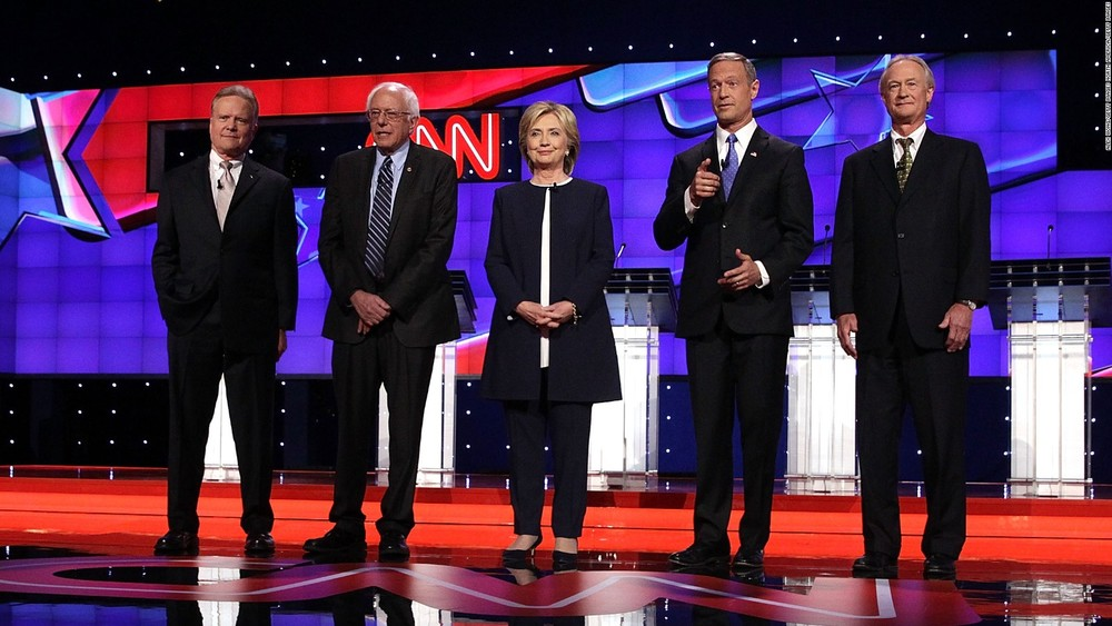 Democratic presidential candidates during their debate on Oct. 13. From left, Jim Webb, Bernie Sanders, Hillary Clinton, Martin O'Malley, and Lincoln Chafee. (CNN)