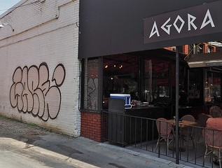 Graffiti next to Agora, a Turkish restaurant, on 17th Street. Photo by Philandscoop – CC BY-NC-SA 2.0