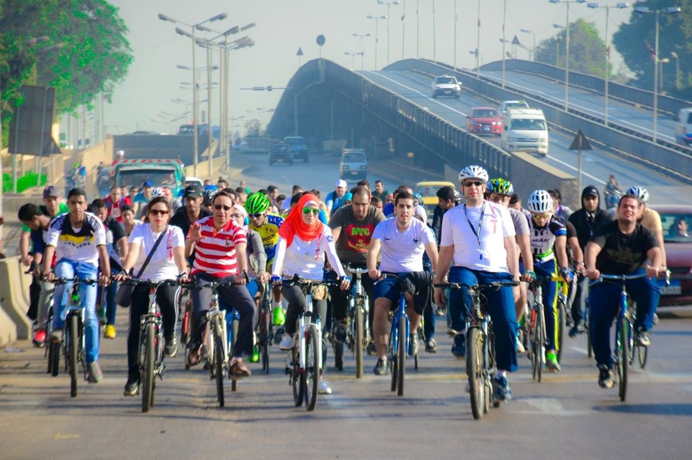 Cyclists, as part of the Go Bike group that promotes cycling, commute together in Egypt's capital, Cairo. Photo credit: Go Bike group