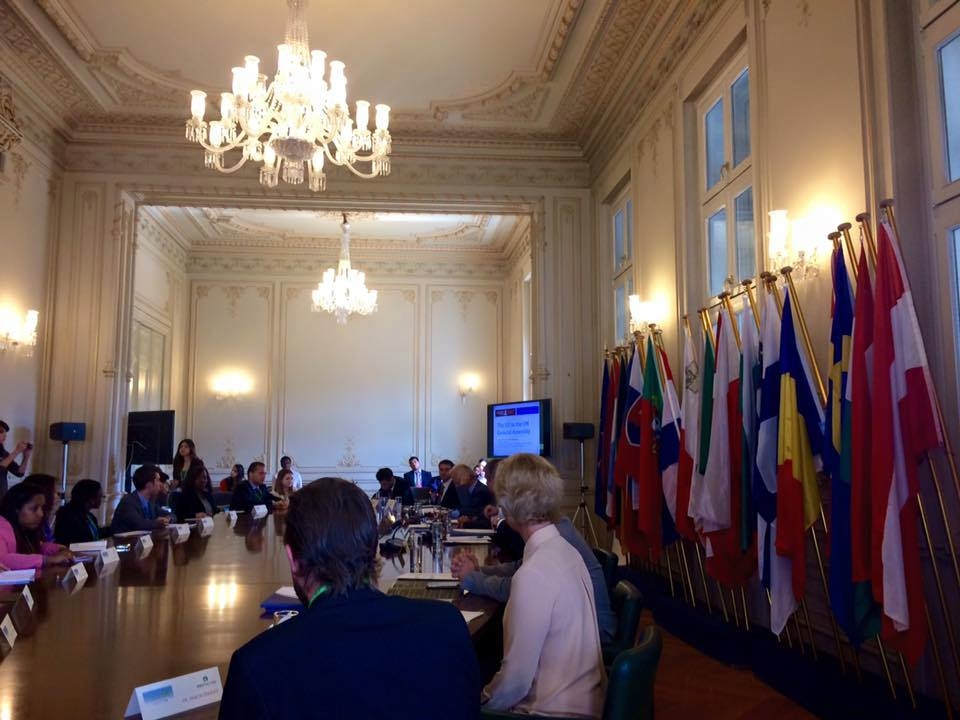 DELEGATES UNITED AT THE OVAL TABLE OF THE YOUNG DIPLOMATS FORUM IN ATHENS, GREECE.