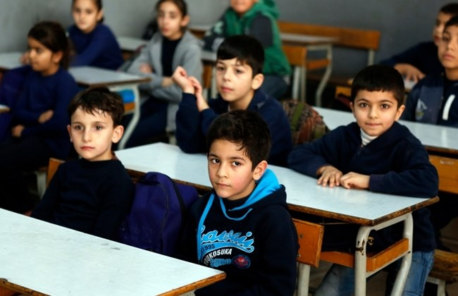 Young Lebanese students in class. Credit: The Daily Star Lebanon/Mohammad Azakir