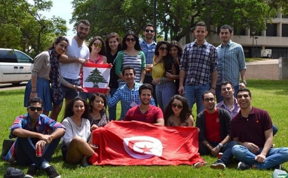 A group of Lebanese and Tunisian exchange students during their year in the U.S. Credit: Dana's Facebook