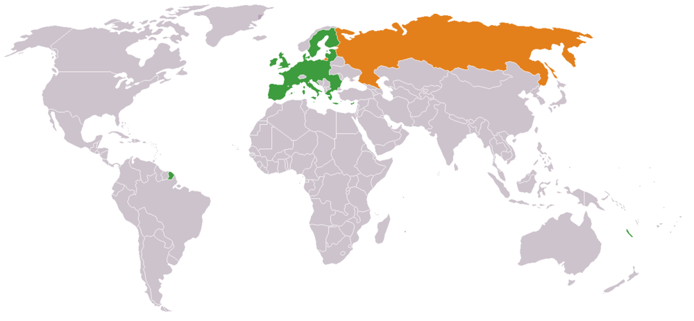 World map highlighting Russia in orange and the European Union in green. Credit: Wikimedia