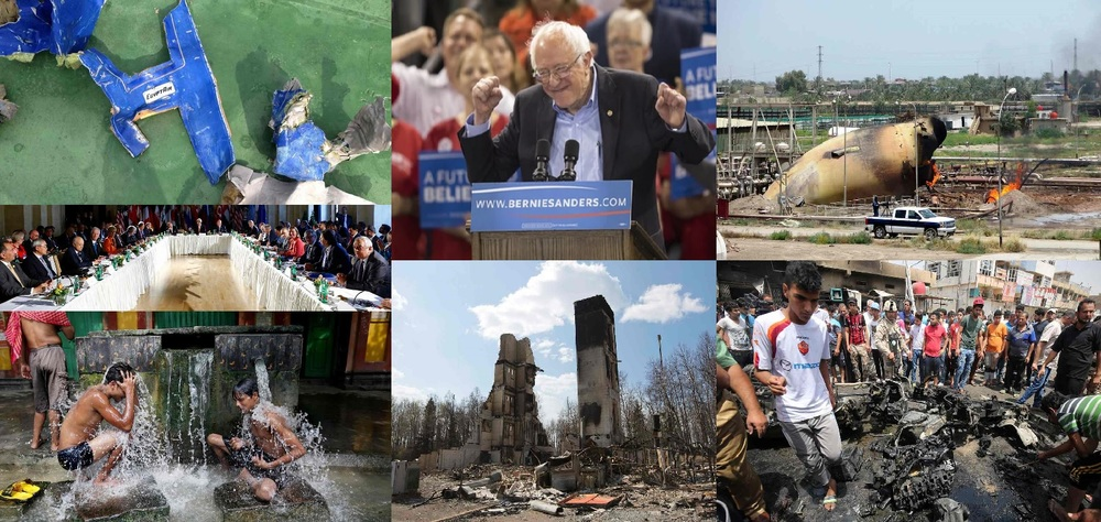 From left to right: In the top row, debris from the crashed EgyptAir flight, U.S.Sen. Bernie Sanders after his victory in Oregon, and a bombed gas plant in Baghdad. In the middle row, world leaders meeting in Vienna over Syria conflict. In the bottom row, two Indian boys under the water to cool their bodies from the record heat, ruins in Canada from the raging wildfire, and people on the site of a car explosion in Baghdad. Cover credit: The Guardian (collage)