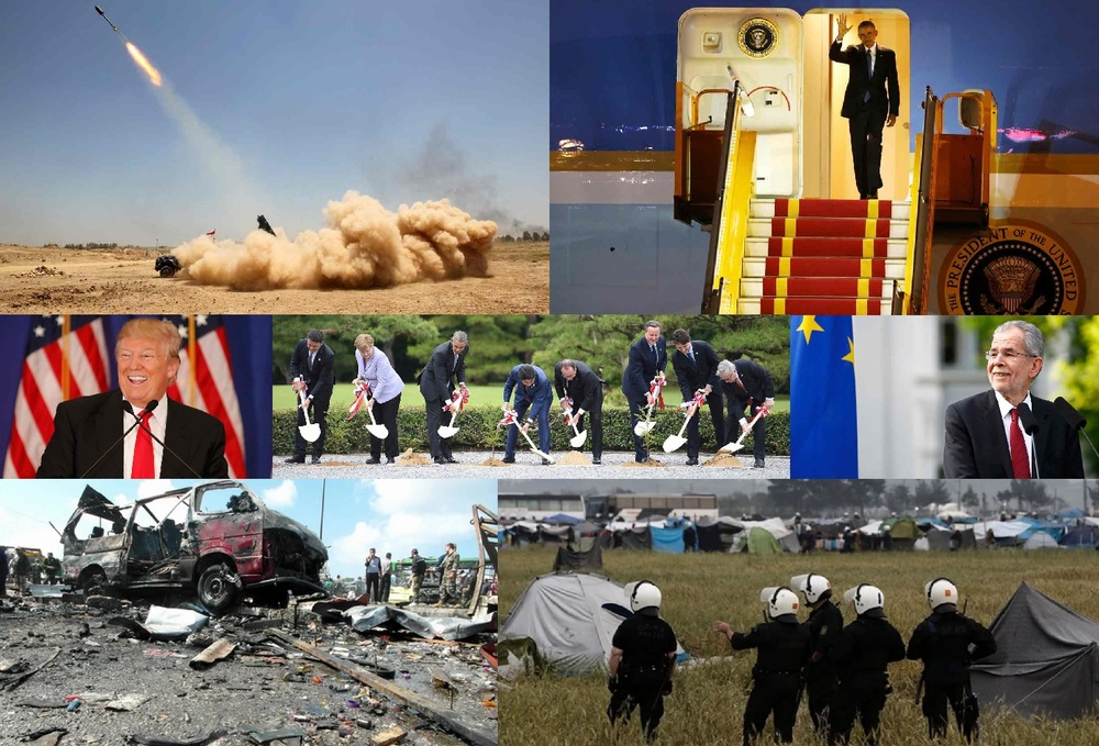 From left to right: In the top row, rocket fired in Iraq's Anbar province by pro-government forces trying to retake Fallujah from ISIS, and Obama lands in Vietnam. In the middle row, Trump speaking at one of his rallies, G7 leaders planting trees in Kashikojima, Japan, and Austria's new president, Alexander Van der Bellen. In the bottom row, Syrian coastal city hit by ISIS explosion, and riot police in Greece ordering refugees to leave.  Cover credits: The Guardian, Reuters (collage)