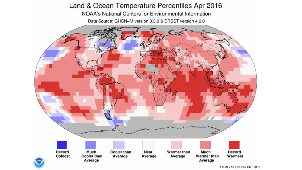 Darkest red shadings correspond to areas that had temperatures the farthest above average in April. Credit: NOAA
