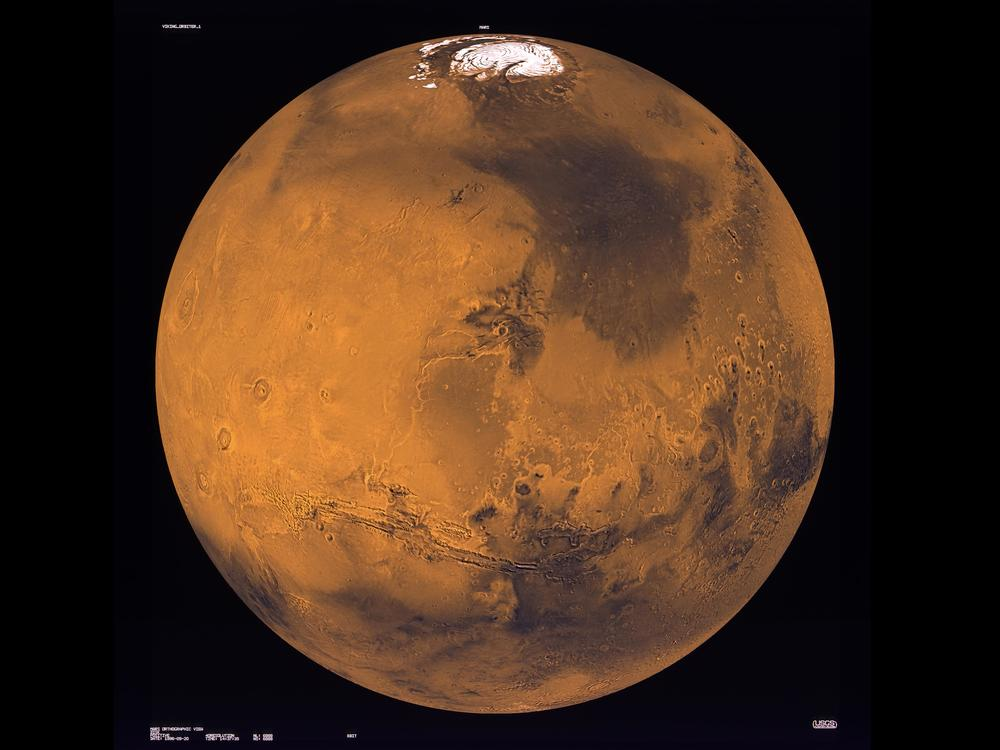 Viking 1 images composite of Mars by USGS University of Arizona. The Viking 1 Mission was flown in June of 1976. Credit: NASA