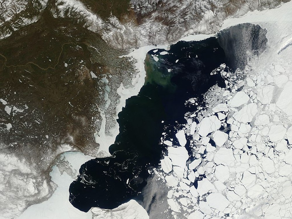 View of the Arctic sea ice in the Beaufort sea from the Moderate Resolution Imaging Spectroradiometer (MODIS) sensor. Cover credit: NSIDC, NASA (GSFC)