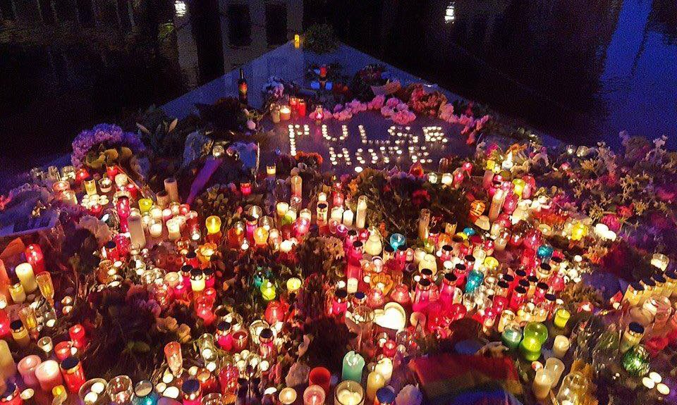 Lighted candles at The Homomonument in Amsterdam.Source: Nltimes.nl