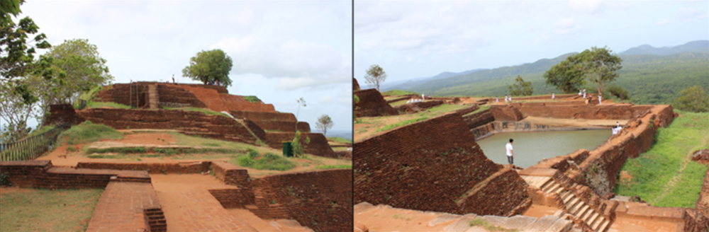 Left: The foundations of the castle. Right: The central bathing pool at the top of Sigiriya. Credit: Kushan Costa/GYV