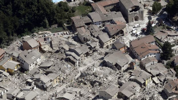 Aerial view of the historic town of Amatrice showing earthquake aftermath. Credit: AP Source: BBC News