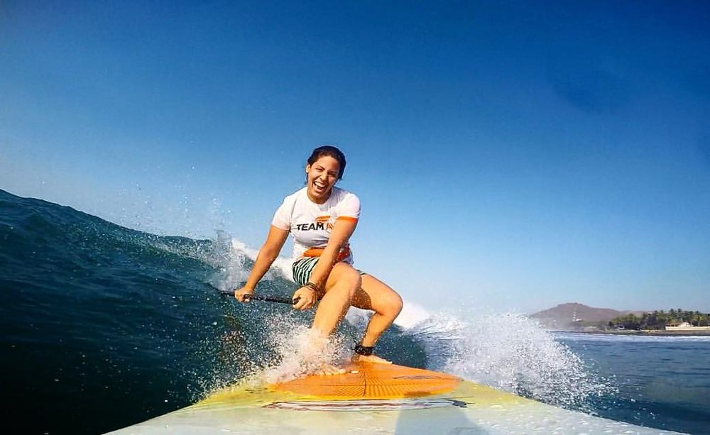 Josselyn Alabi, 23, is the first SUP athlete from El Salvador. Source: Alabi's Facebook account