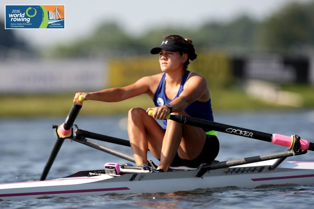 Adriana Escobar, 23, competing in the World Rowing championship in the Netherlands. Credit: The World Rowing championship Source: World Rowing Facebook page