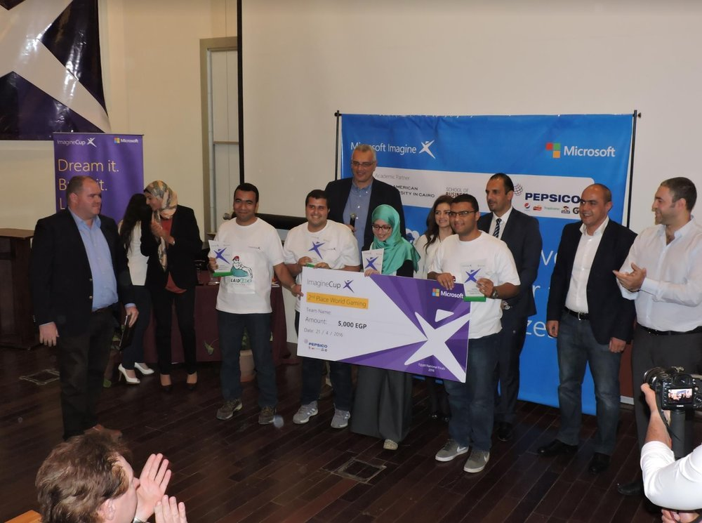 ITI teams receive awards for the second,third and fourth places in the Microsoft Imagine Cup competition.Credit: Noha Elmessiri/GYV