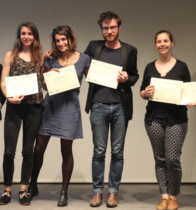 From left to right: Lise Tanfin, Marion Paulin, Florian Duffroy and Coline Fidélis, during the awards ceremony of the JRE contest in Paris in July. The team's fifth member, Hélène Berthelot, couldn't attend. Credit: Lise Tanfin