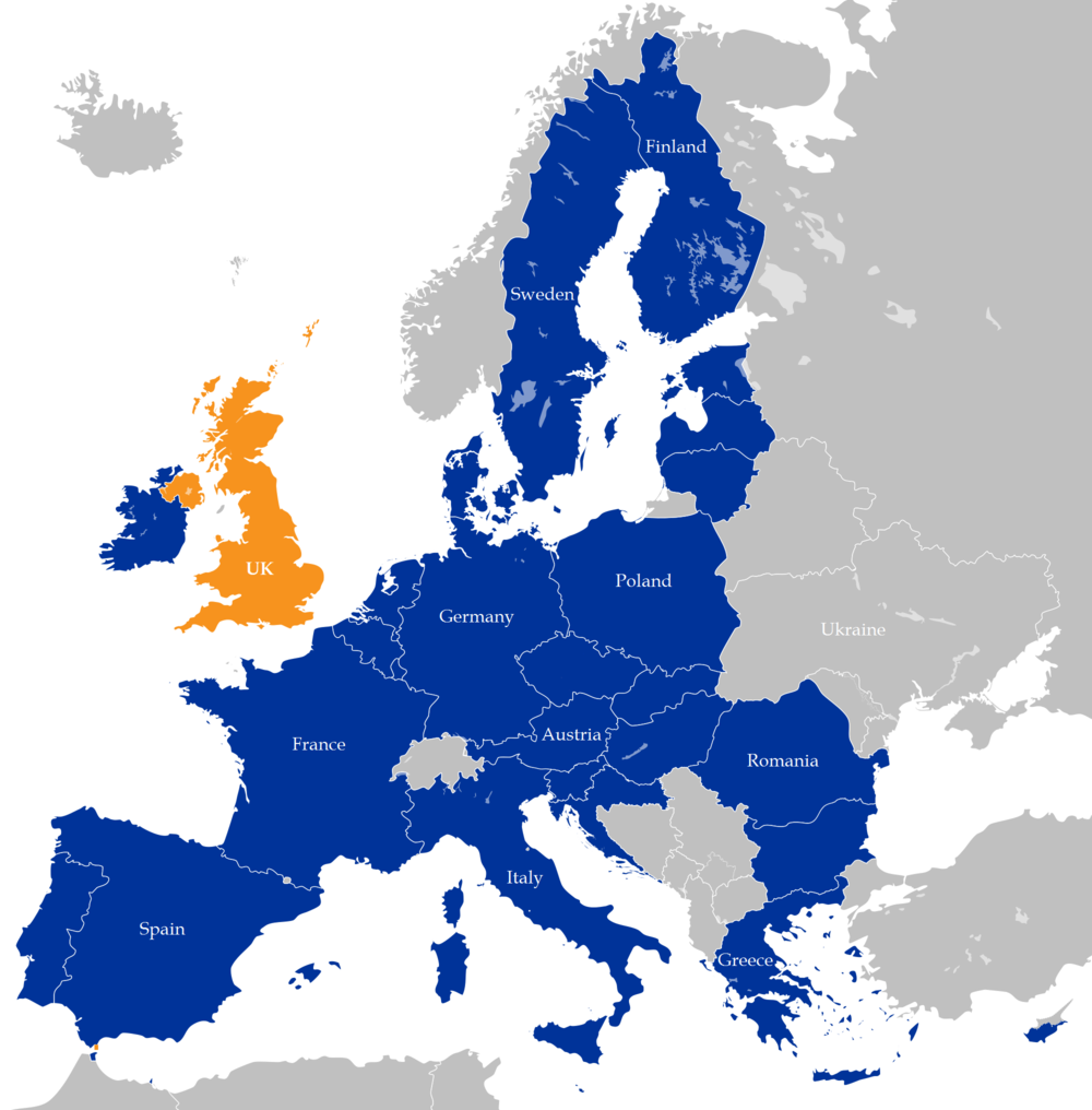 Map of Europe showing the EU in blue and the U.K. in yellow. Credit: Wikimedia
