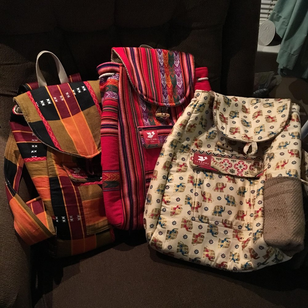 Taaluma Totes backpacks. Credit: Brittany Timney/GYV