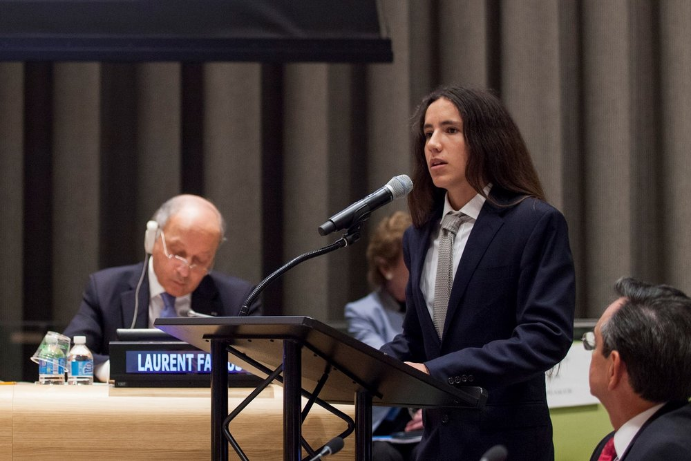One of the young plaintiffs in the climate case, Xiuhtezcatl Roske Martinez, pictured during a high-level event on climate change in June 2015. Cover credit: Martin Dixon/ H.E. Mr. Sam K. Kutesa  on  Flickr