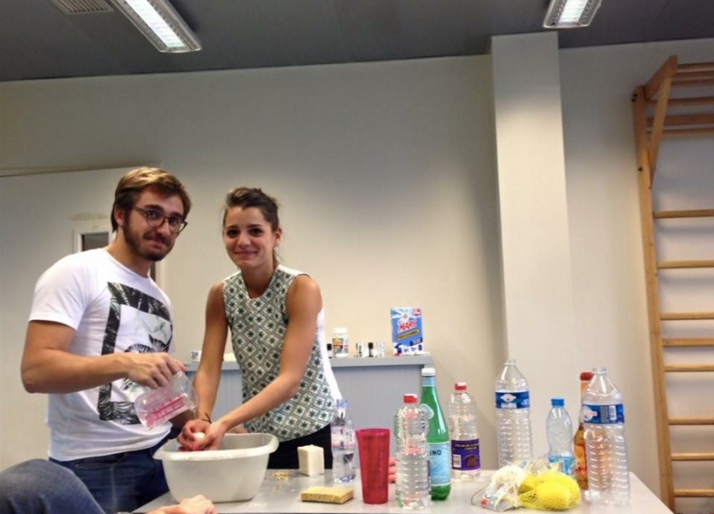Victor (one of the team members) and I test our recipes. Credit: Fanny Coumau