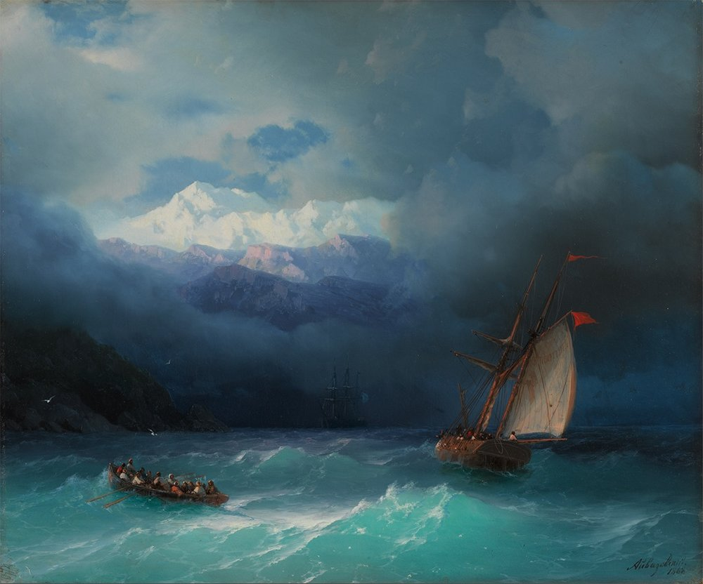 "The ""Stormy Sea"" painting from 1868 by Ivan Aivazovsky can be found at the State Tretyakov Gallery. Source: Art Guide"