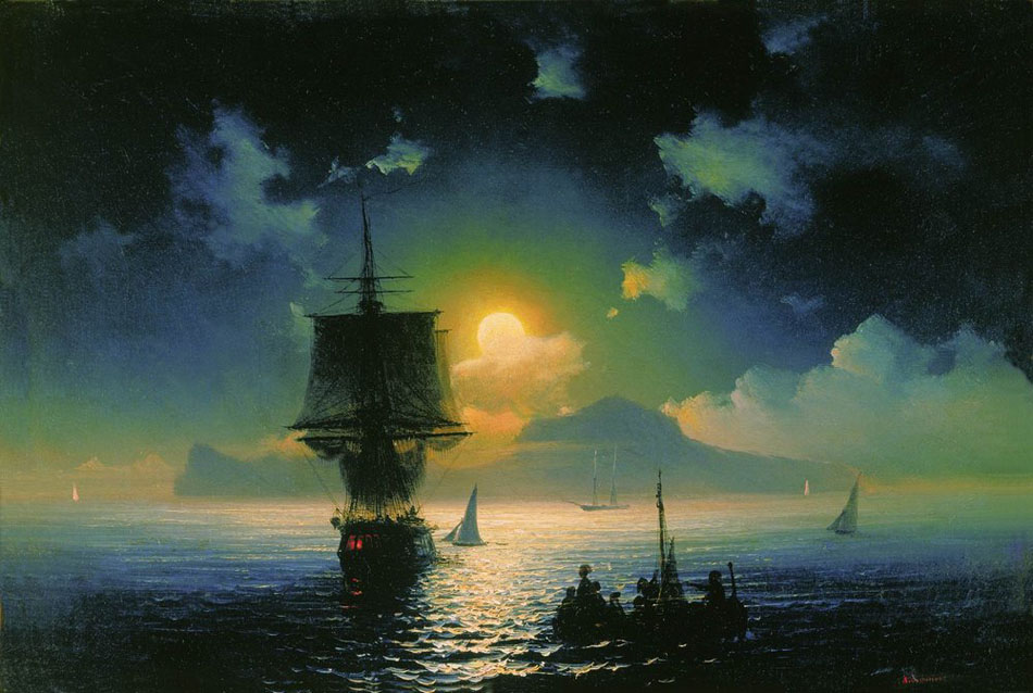 """Moonlit Night on Capri"" is by Ivan Aivazovskiy from 1841. Source: Wikimedia"