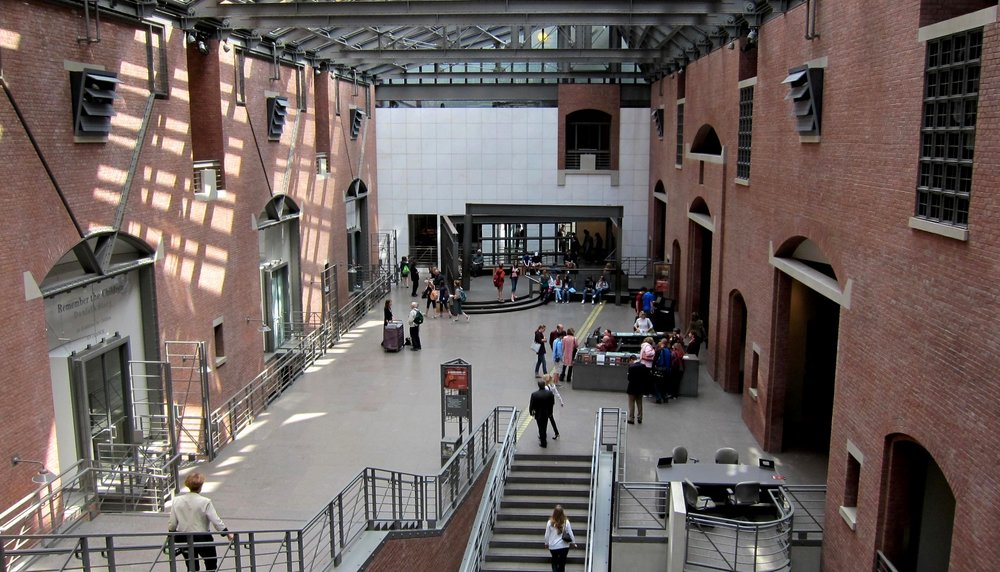 The inside of the U.S. Holocaust Memorial Museum in Washington, D.C. Cover source:  Wikimedia